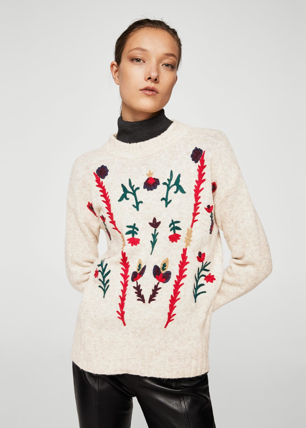 Floral embroidery sweater | MANGO