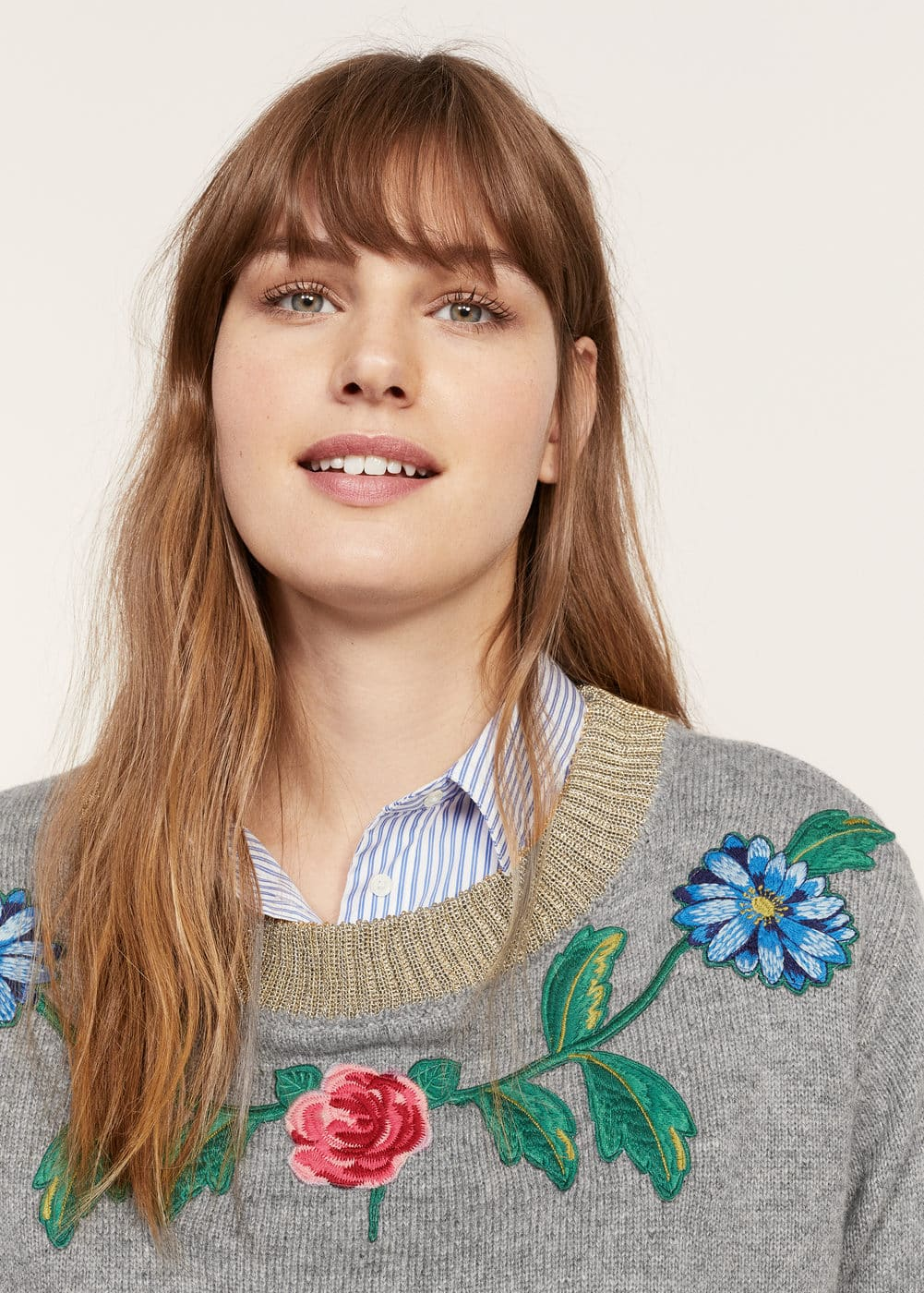 Floral embroidery sweater | VIOLETA BY MANGO