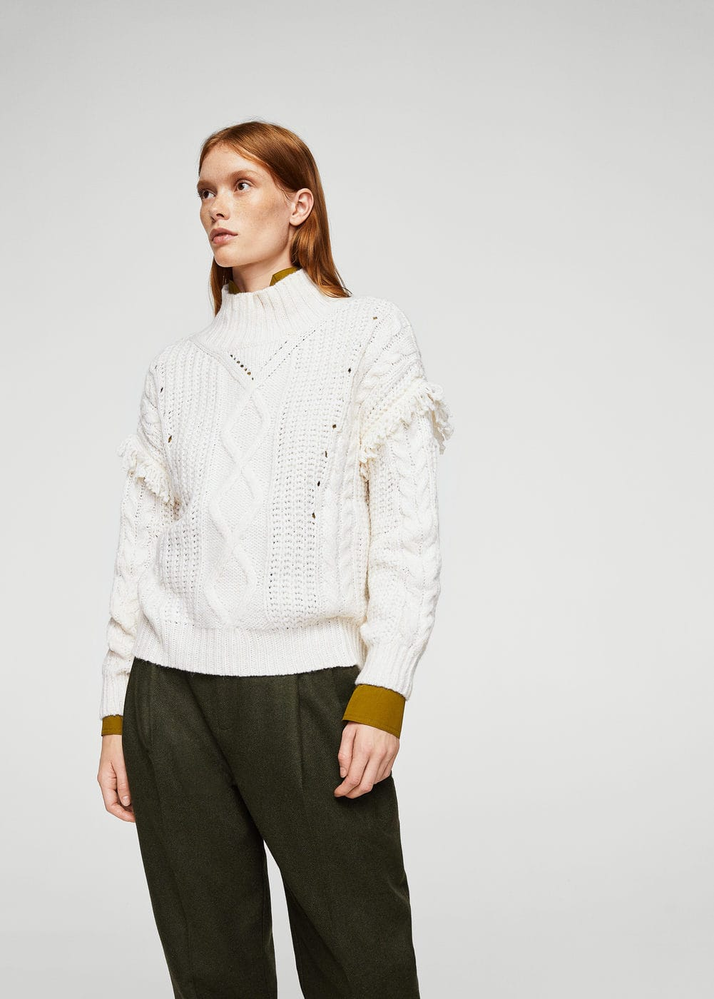 Fringed cable-knit sweater | MANGO