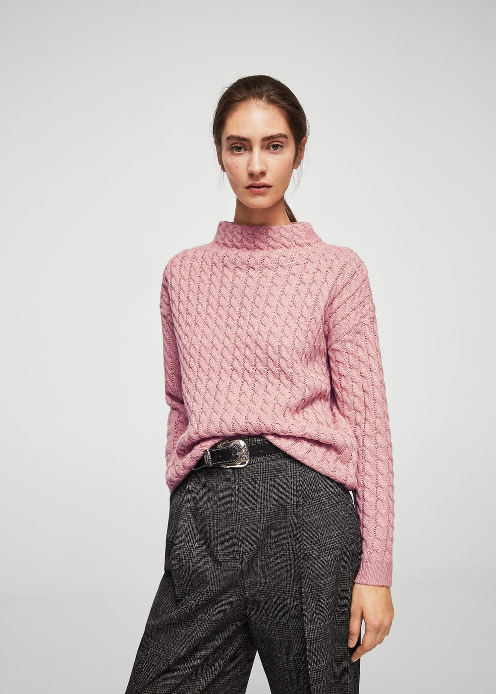 Knitted braided sweater | MANGO