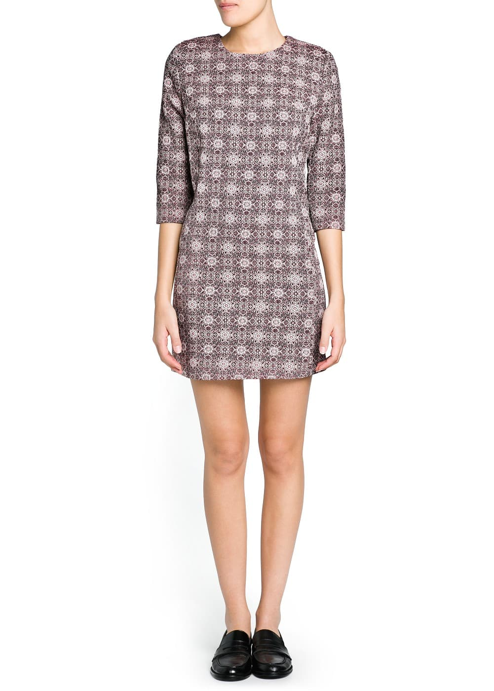 Padded shoulder jacquard dress | MANGO