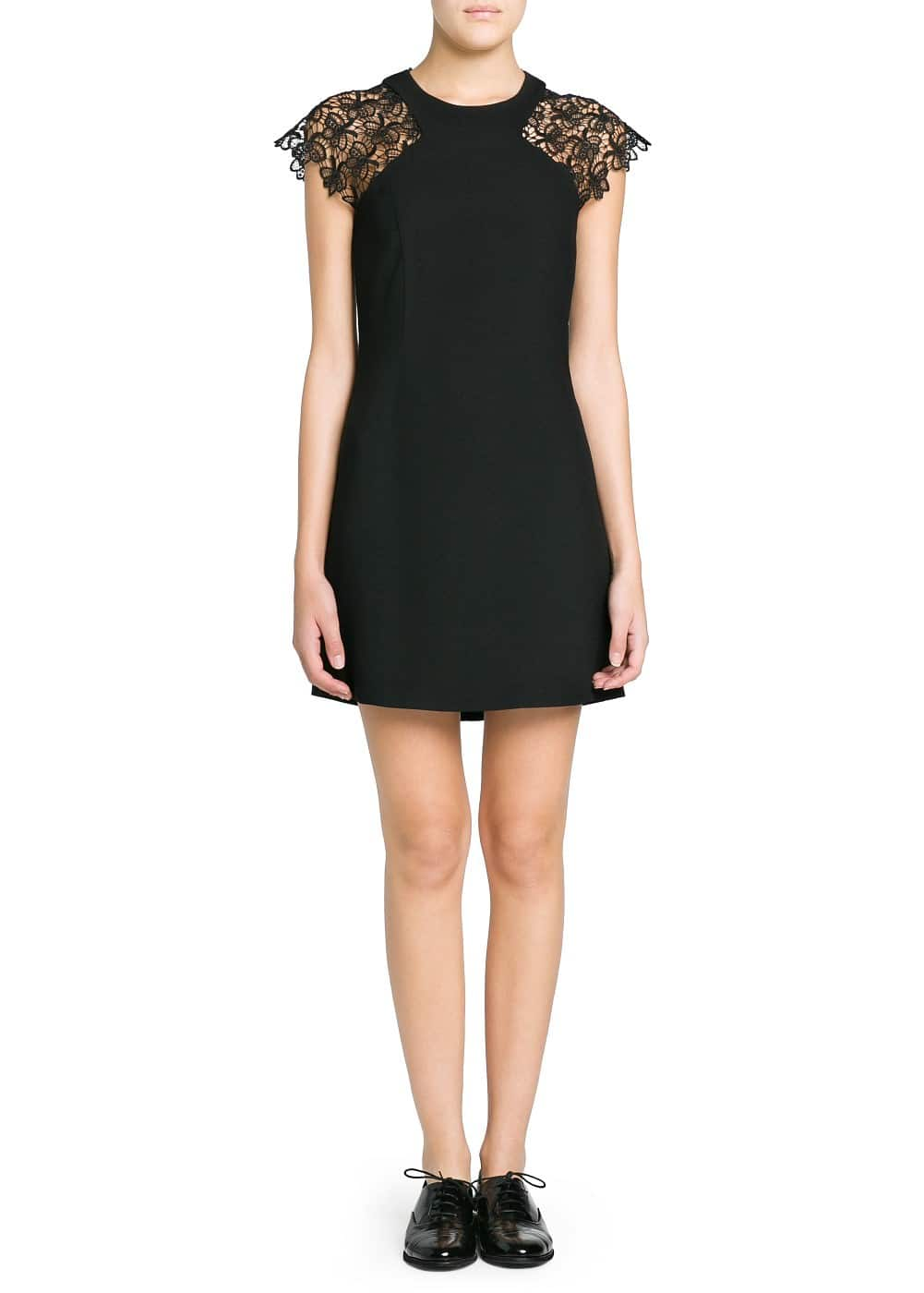 Guipure sleeve crepe dress | MANGO