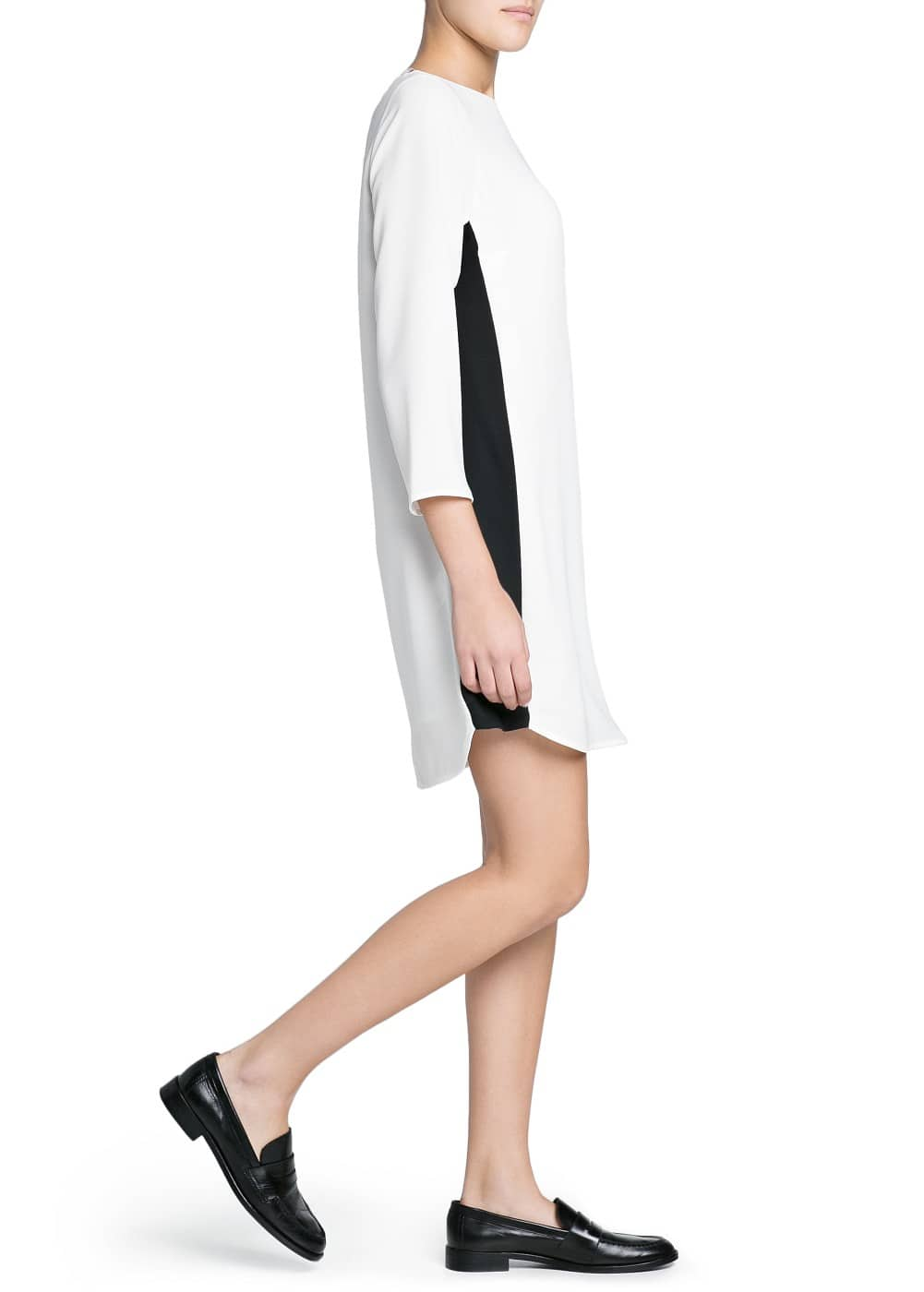 Contrast panel asymmetric dress | MANGO
