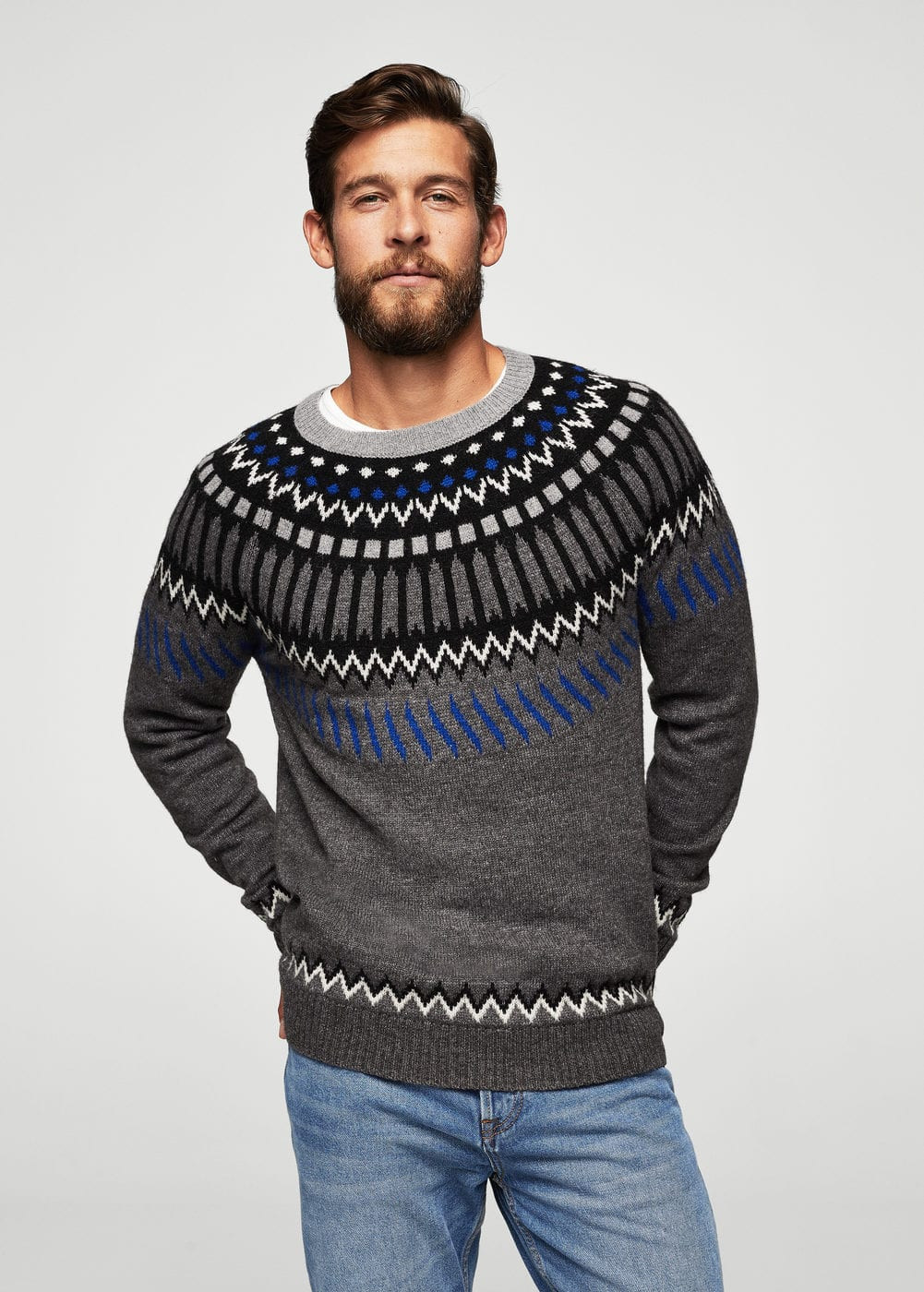 Jacquard wool sweater | MANGO MAN