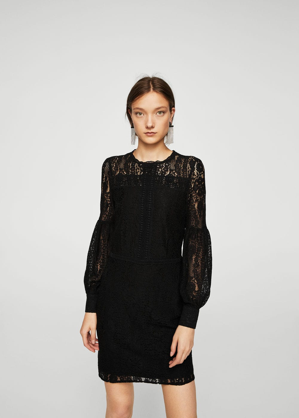 Puffed sleeves guipur dress | MANGO
