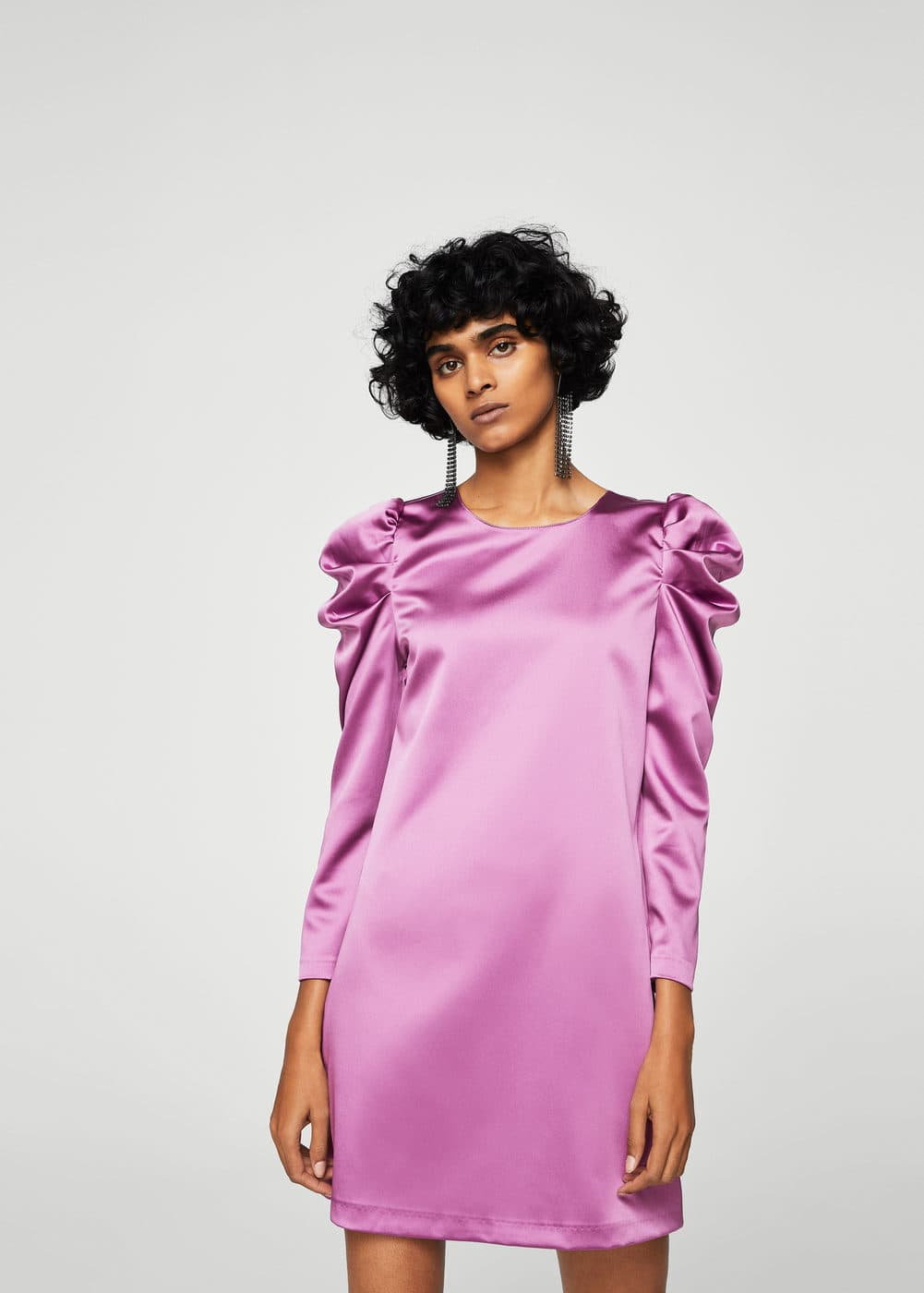 Puffed-shoulder satin dress | MANGO