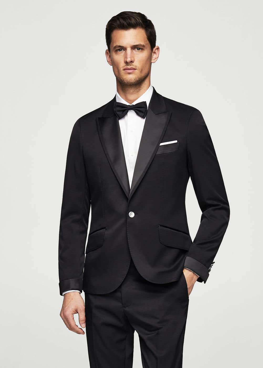 Slim-fit satin suit blazer | MANGO