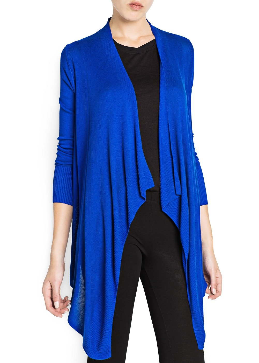 Ribbed detail waterfall cardigan | MANGO