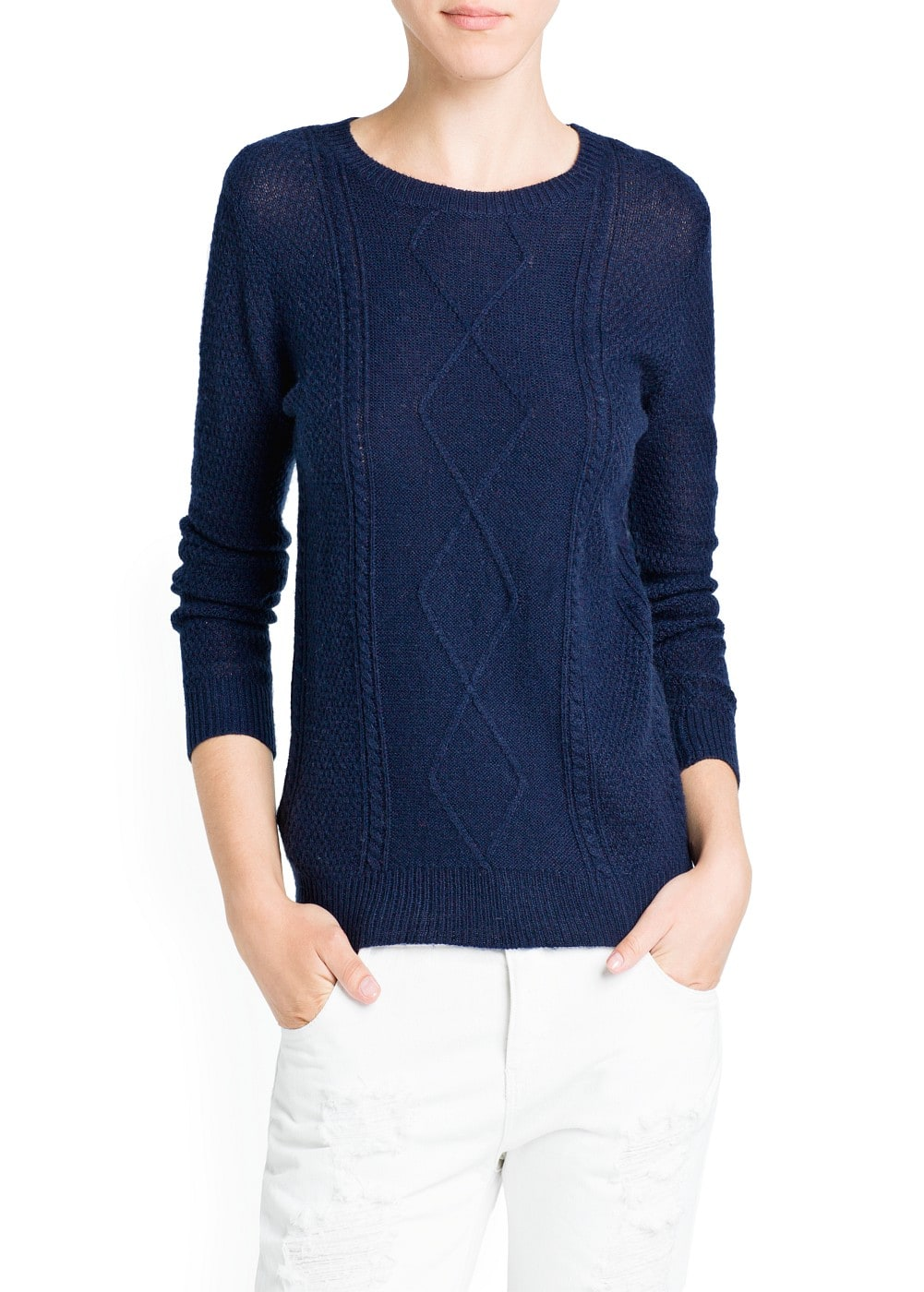 Cable-knit round neck sweater | MANGO