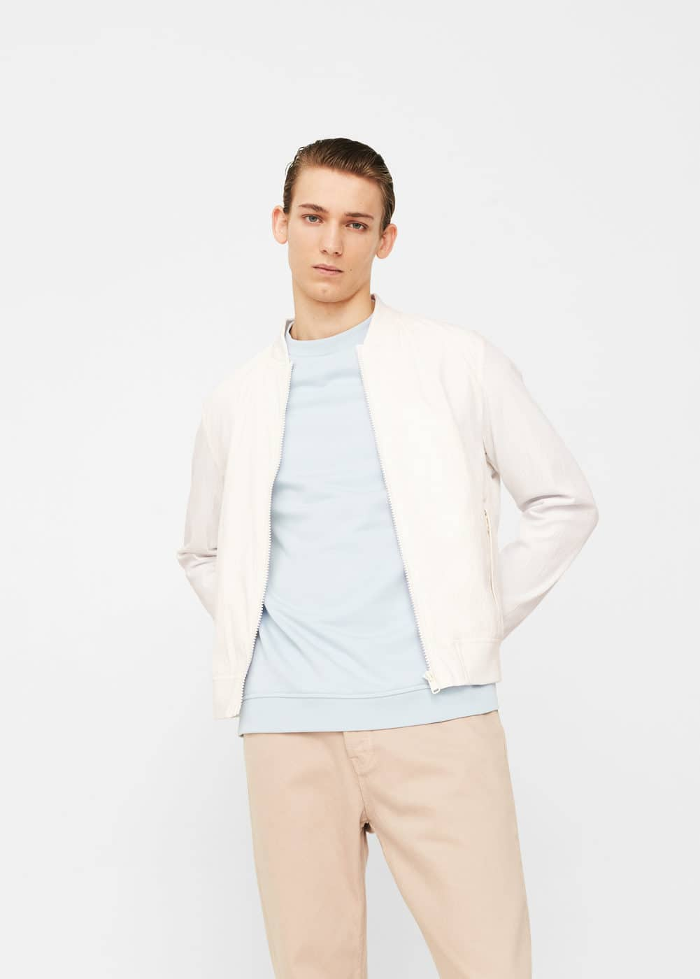 Textured cotton bomber jacket | MANGO