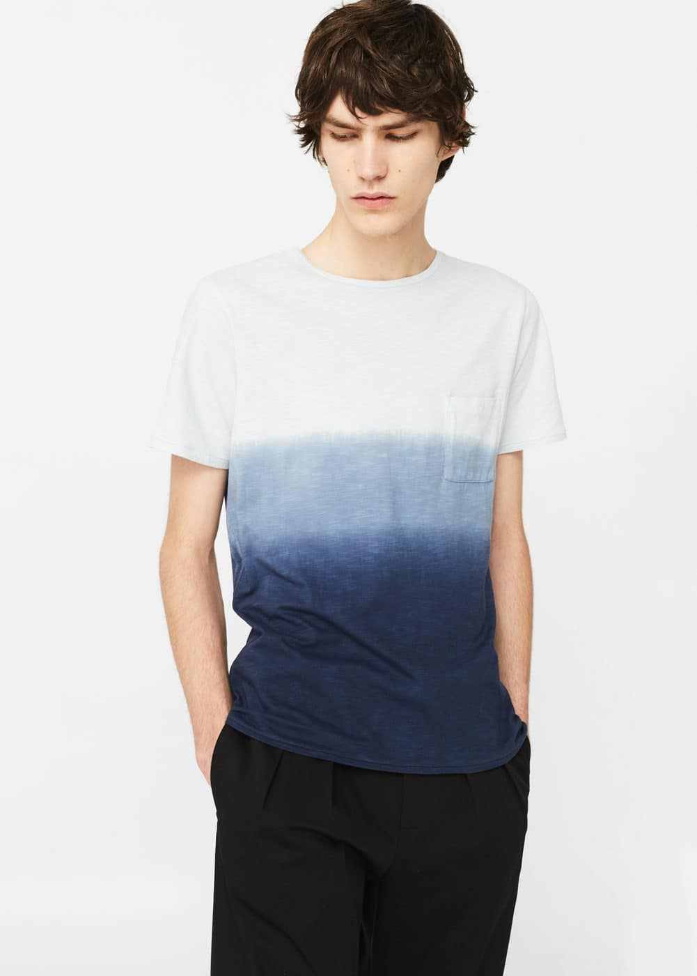 Ombré-stripe cotton t-shirt | MANGO MAN