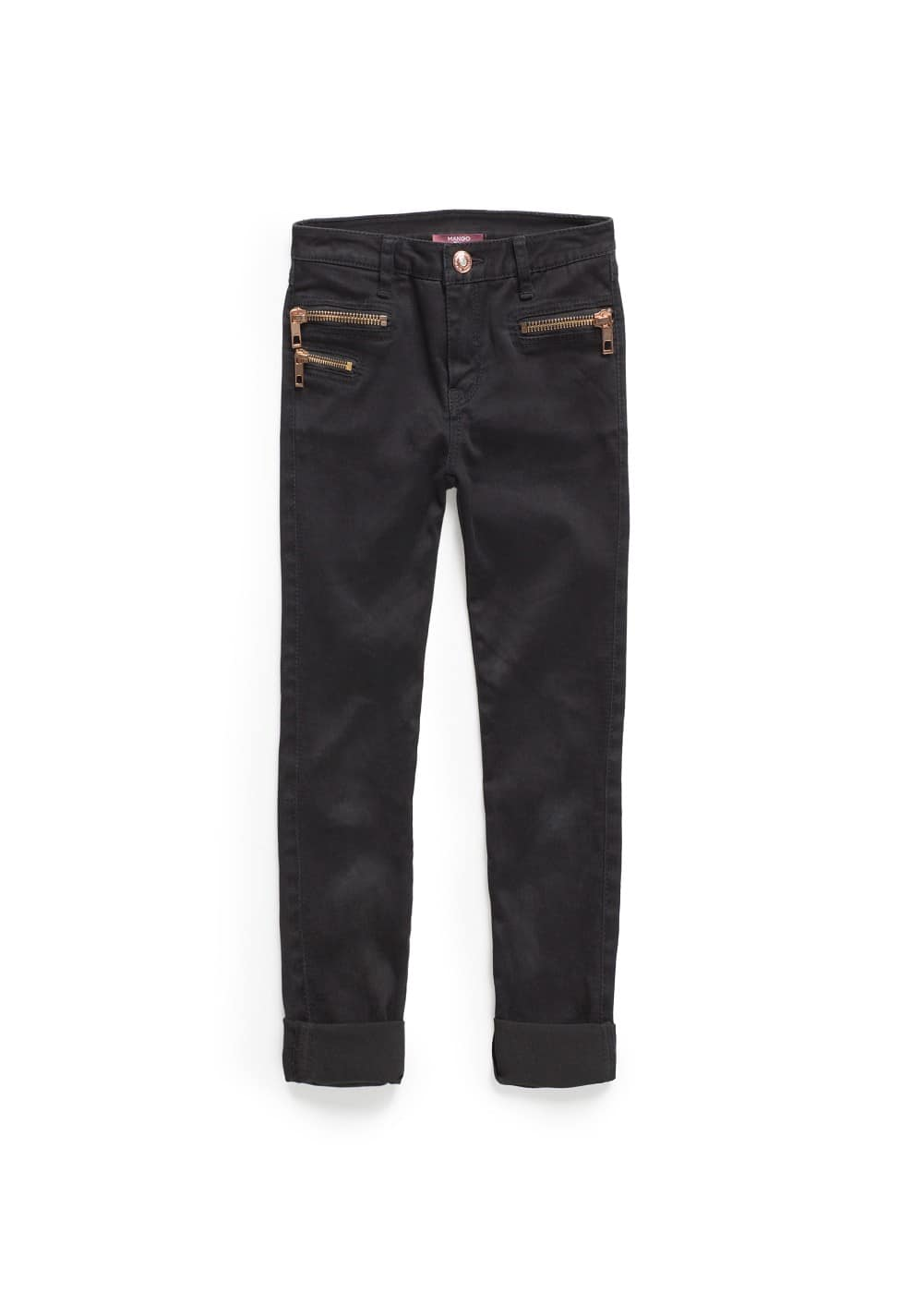 Black zippers jeans | MANGO KIDS