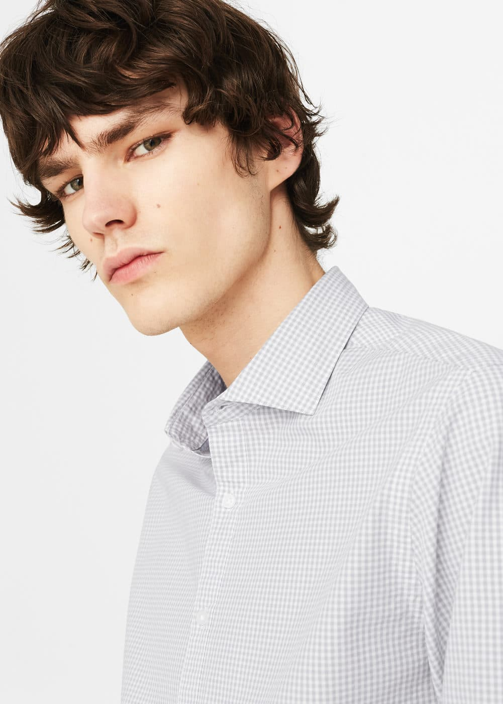 Slim-fit checked cotton shirt | MANGO MAN