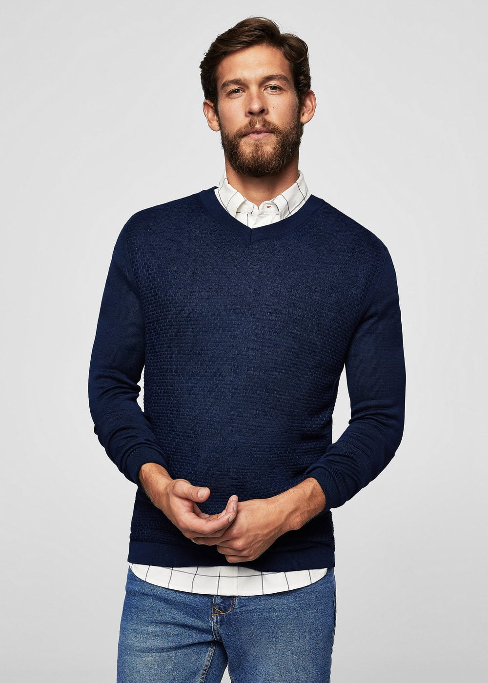 Textured panel sweater | MANGO