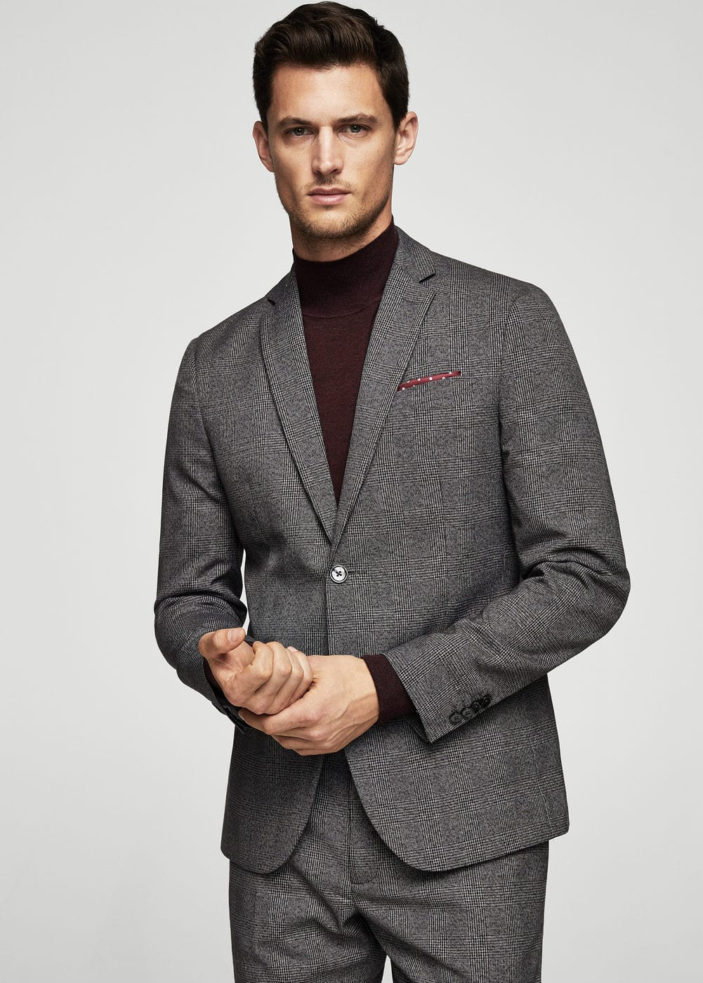 Prince of wales modern slim-fit suit blazer | MANGO MAN