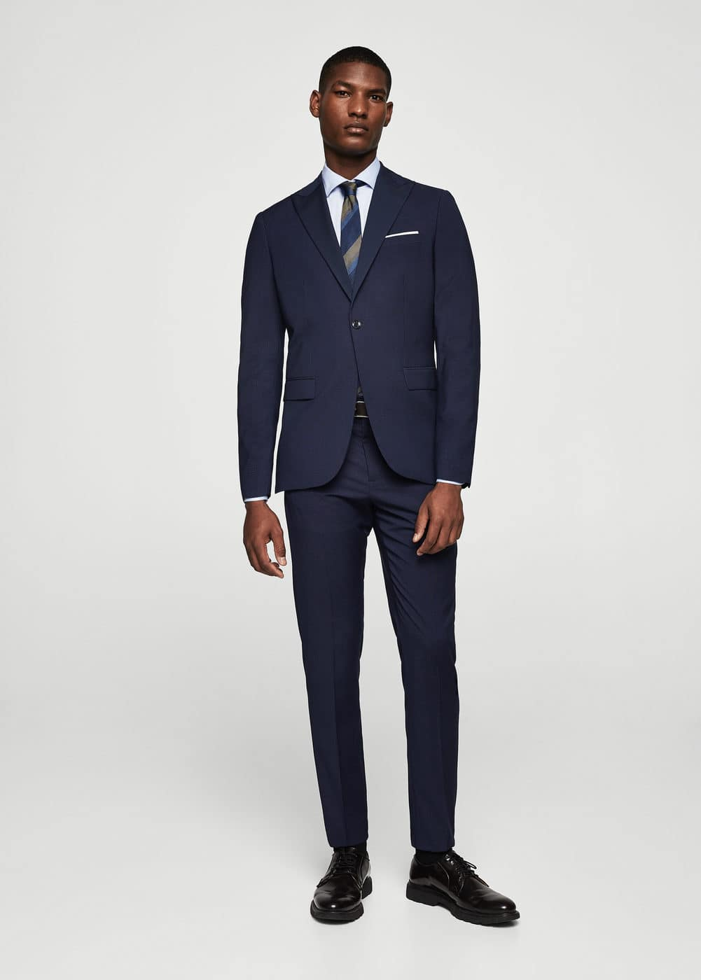 Slim-fit micro check suit blazer | MANGO MAN