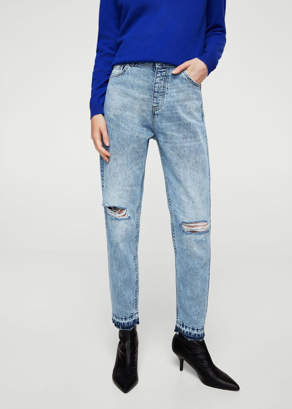 Relaxed cropped mom jeans | MANGO