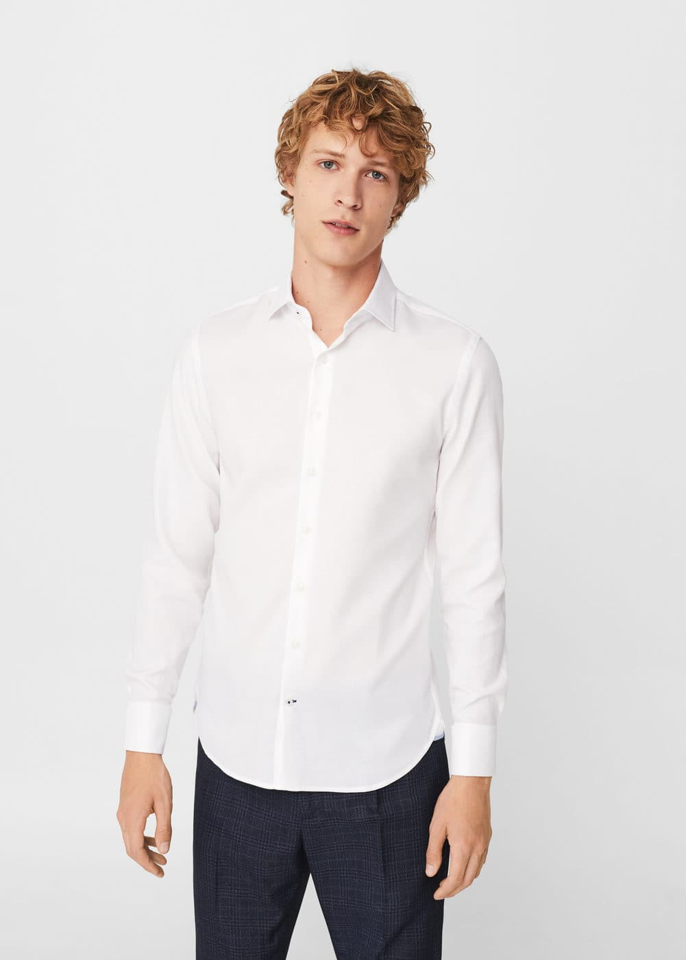 Slim-fit tailored textured shirt | MANGO MAN