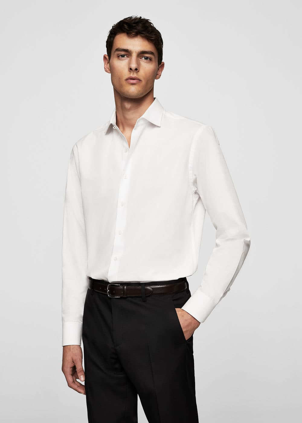 Regular-fit tailored cotton shirt | MANGO MAN