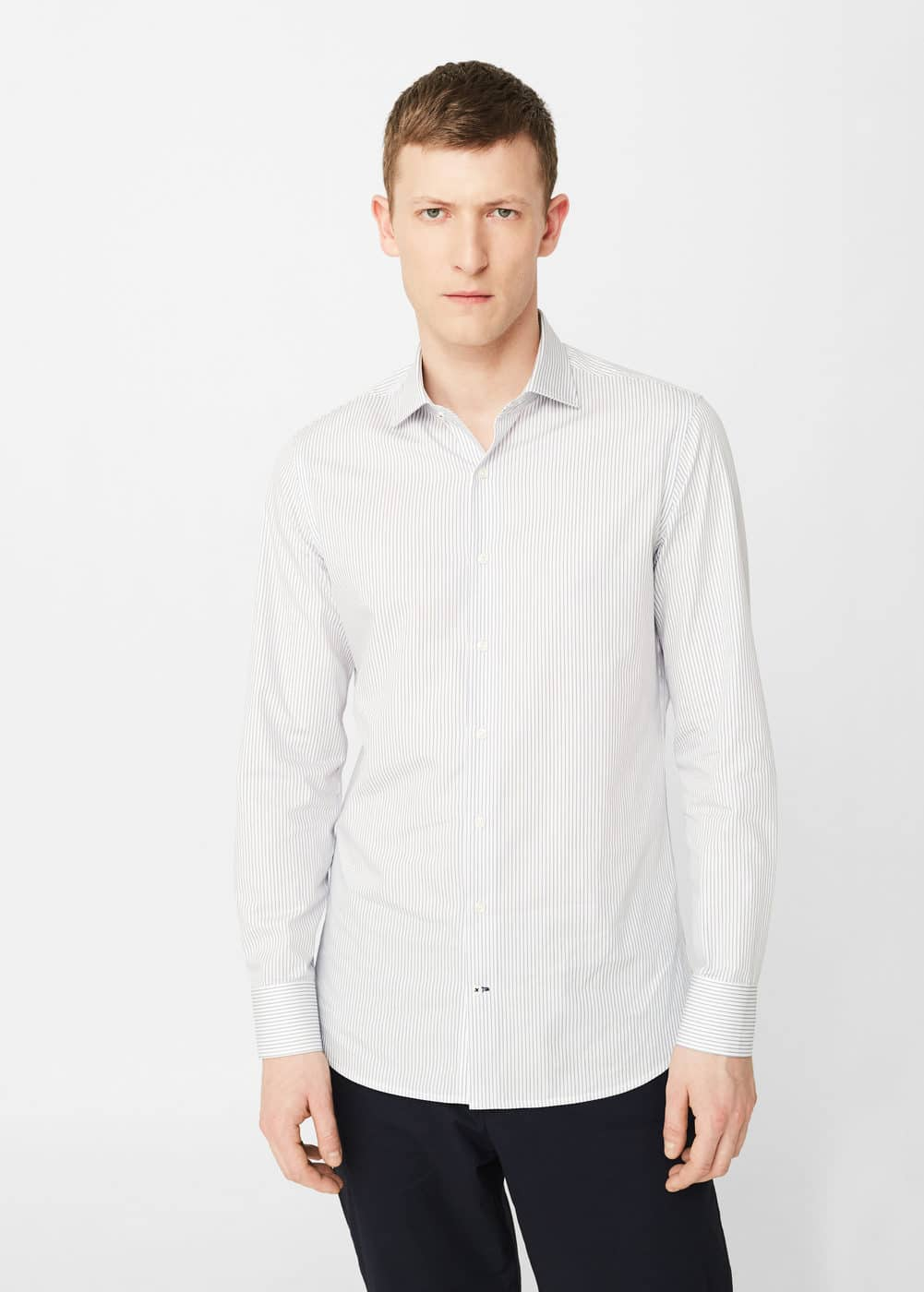 Slim-fit tailored bengal-stripe shirt | MANGO