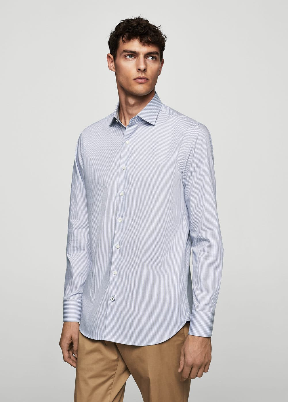 Slim-fit tailored striped shirt | MANGO MAN