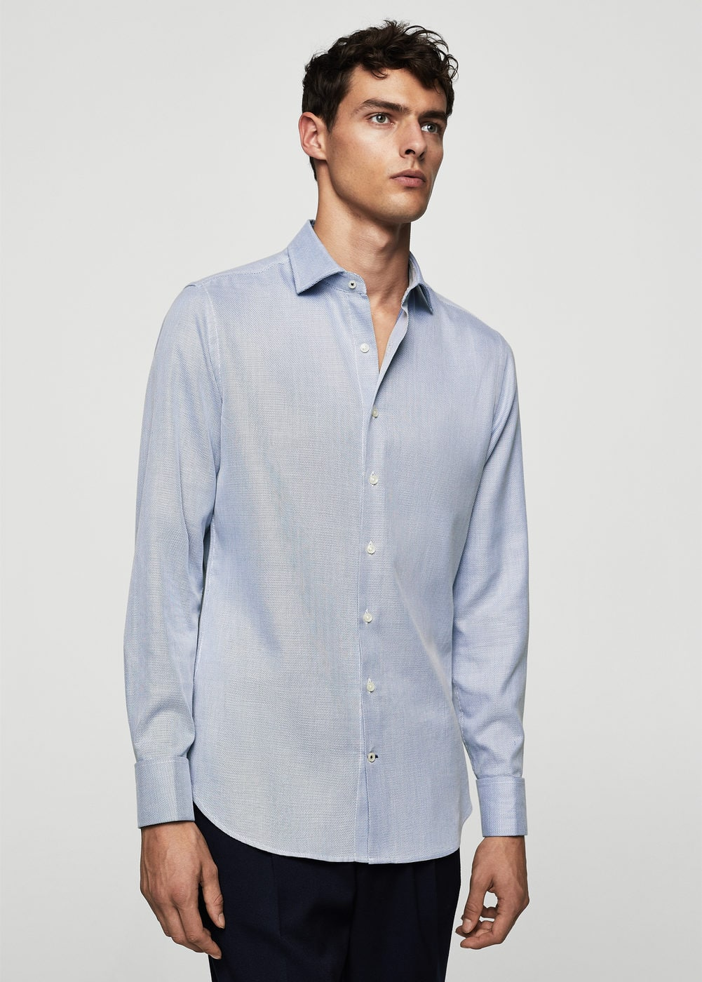Slim-fit tailored end-on-end shirt | MANGO