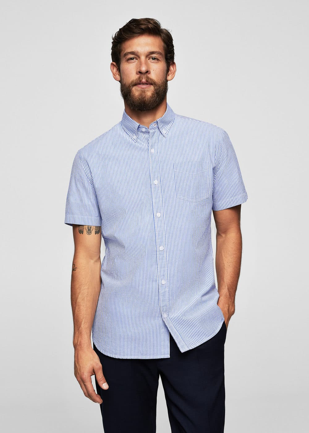 Slim-fit cotton seersucker shirt | MANGO MAN