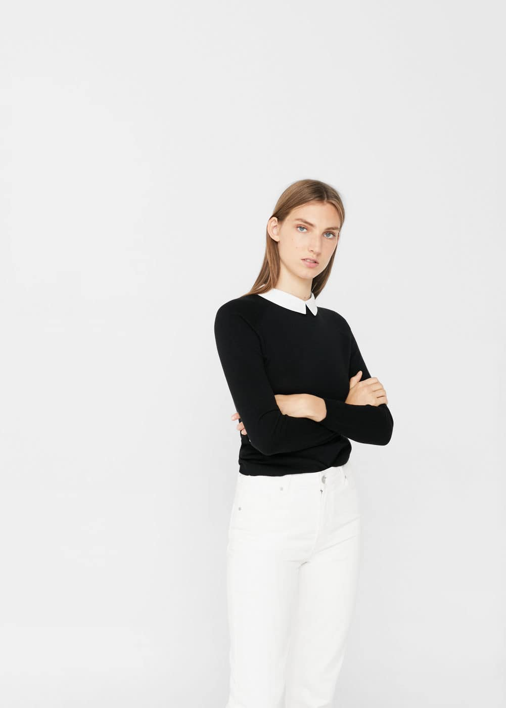 Shirt collar sweater | MANGO