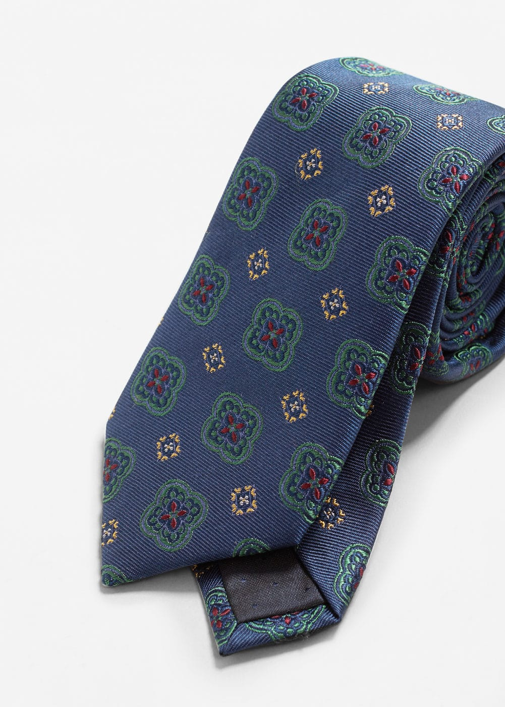 Flower patterned silk tie | MANGO MAN