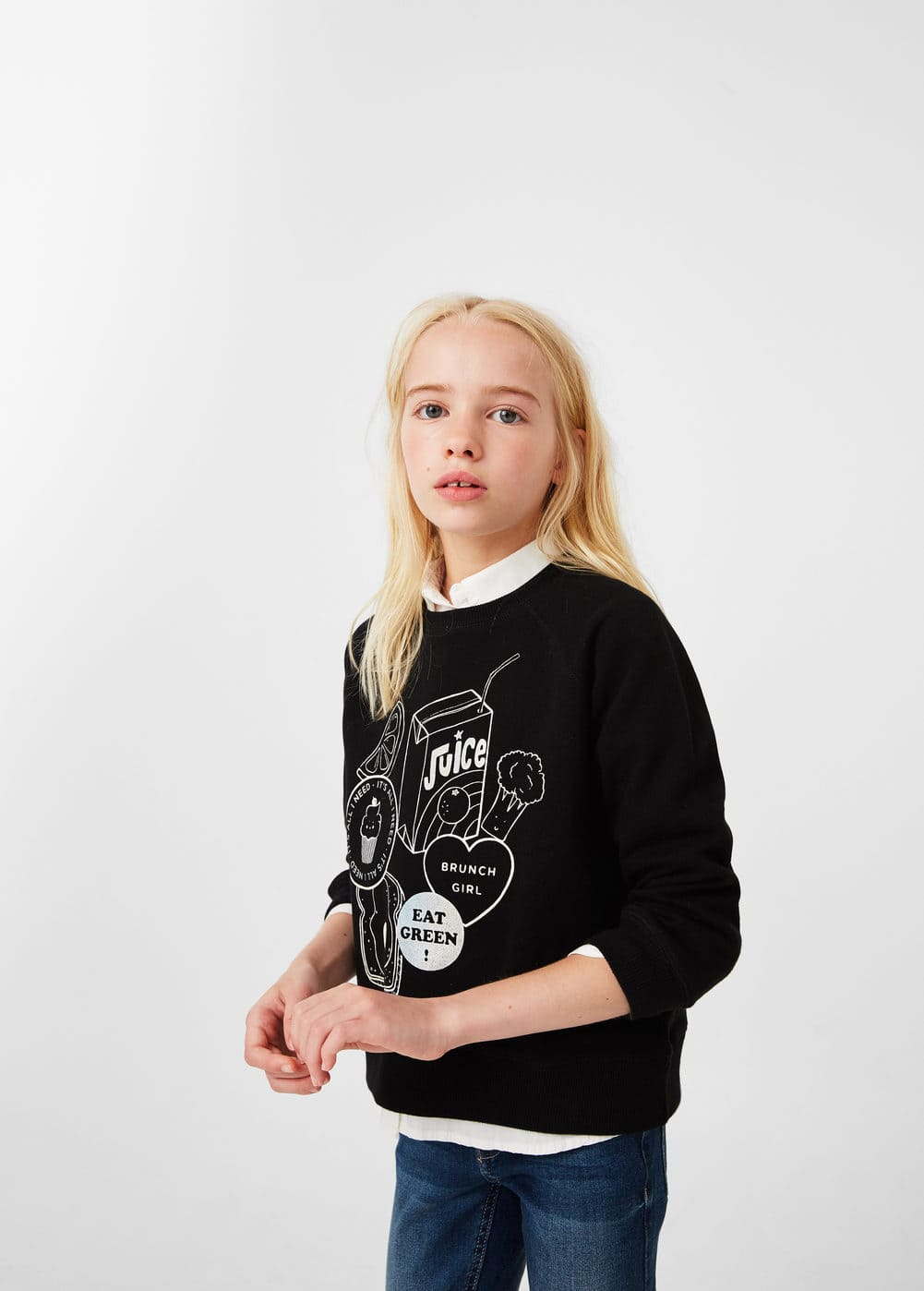 Printed cotton sweatshirt | MANGO