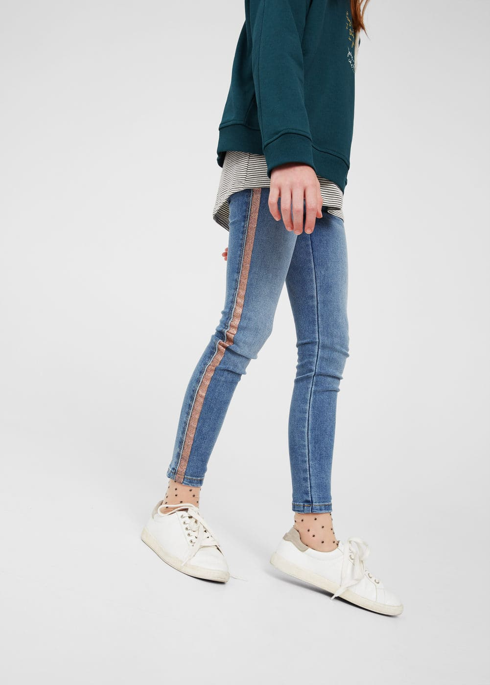 Contrasting trims jeggings | MANGO