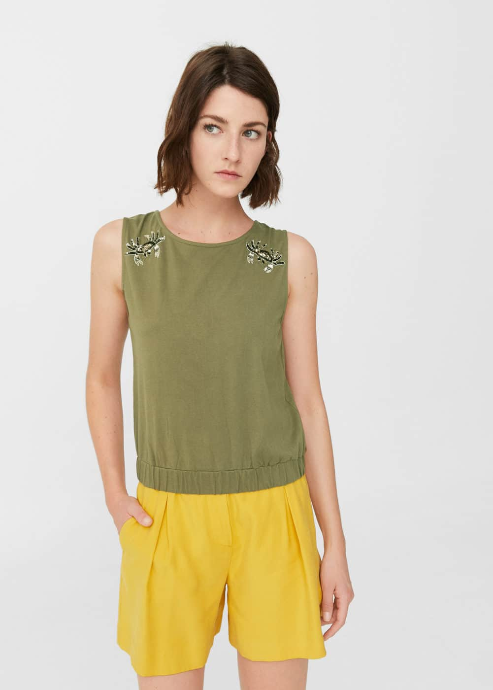 Top bordado lentejuelas | MANGO