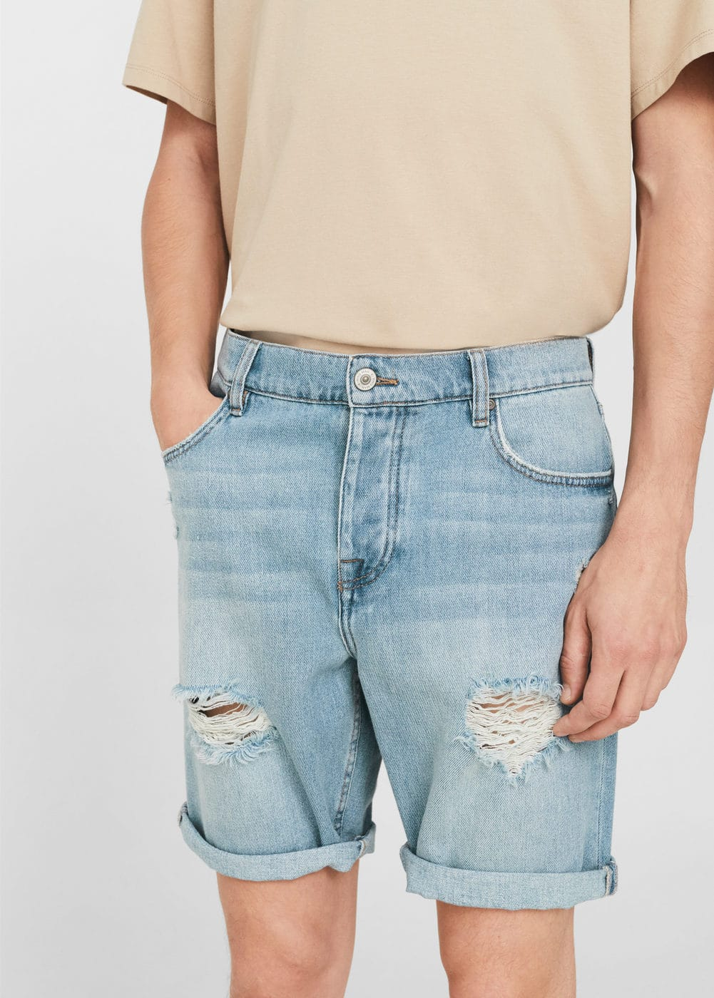 Ripped light denim bermuda shorts | MANGO MAN