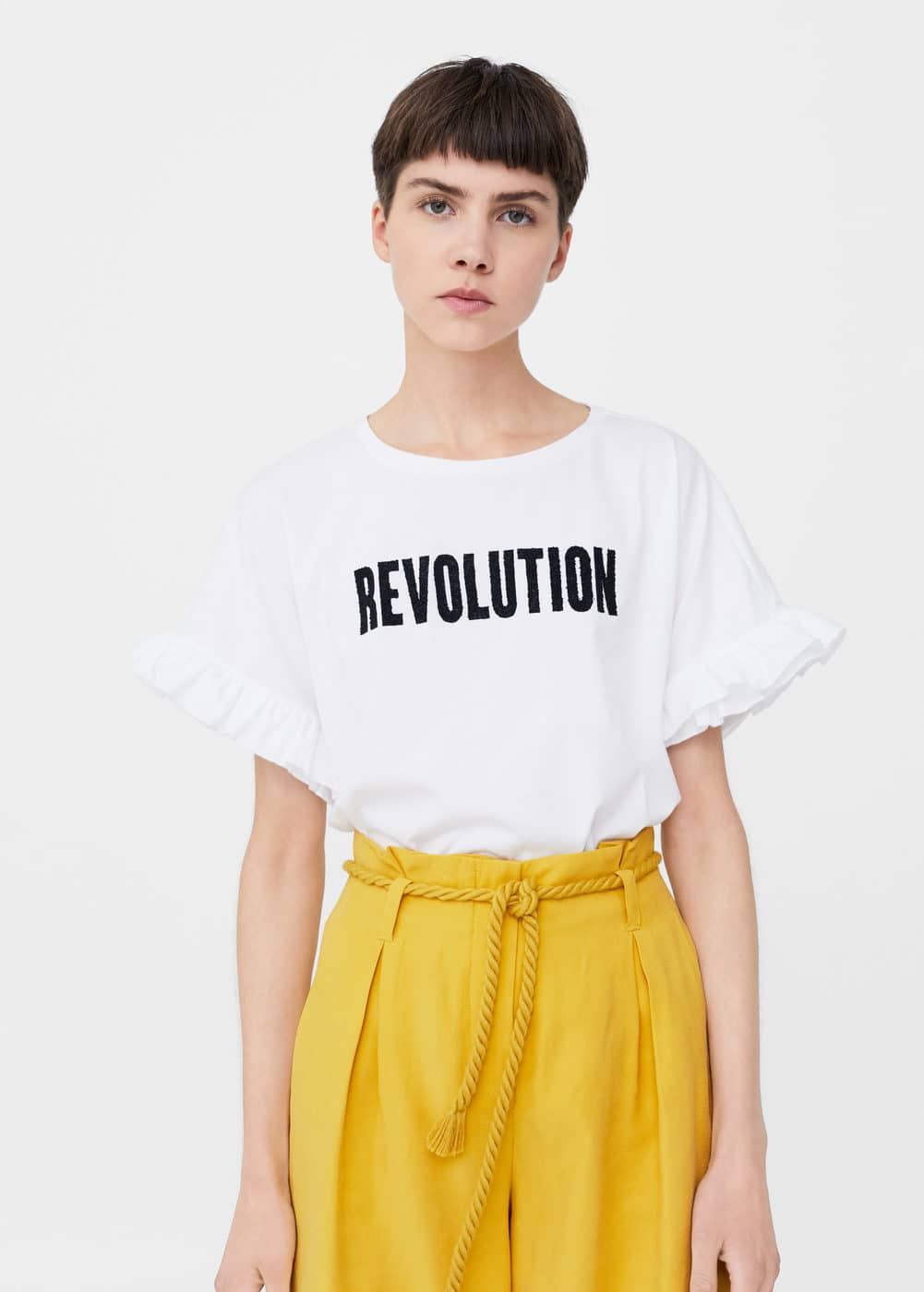 Ruffled message t-shirt | MNG