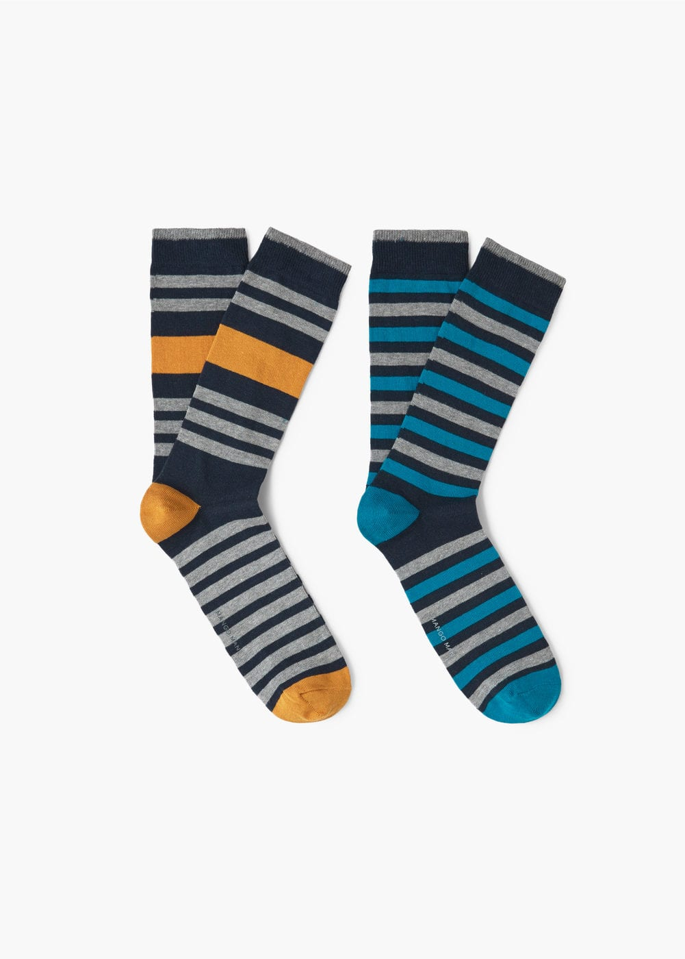 2 pack knee-length striped socks | MANGO