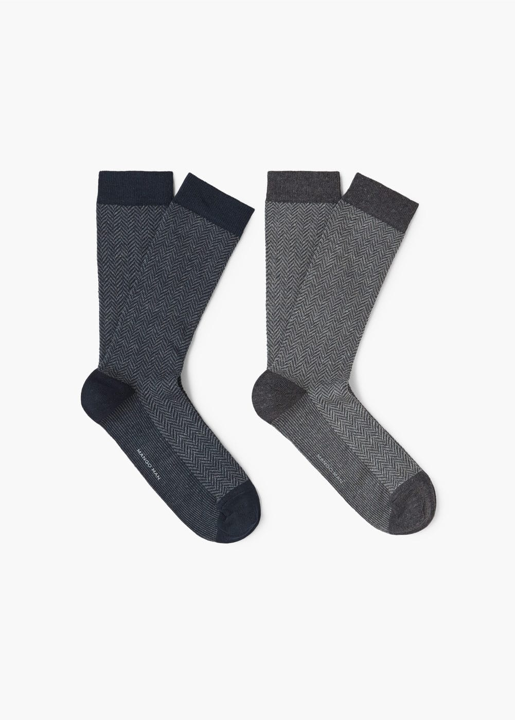 2 pack herringbone socks | MANGO