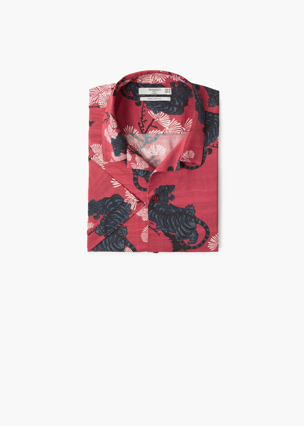 Regular-fit floral print shirt | MANGO MAN