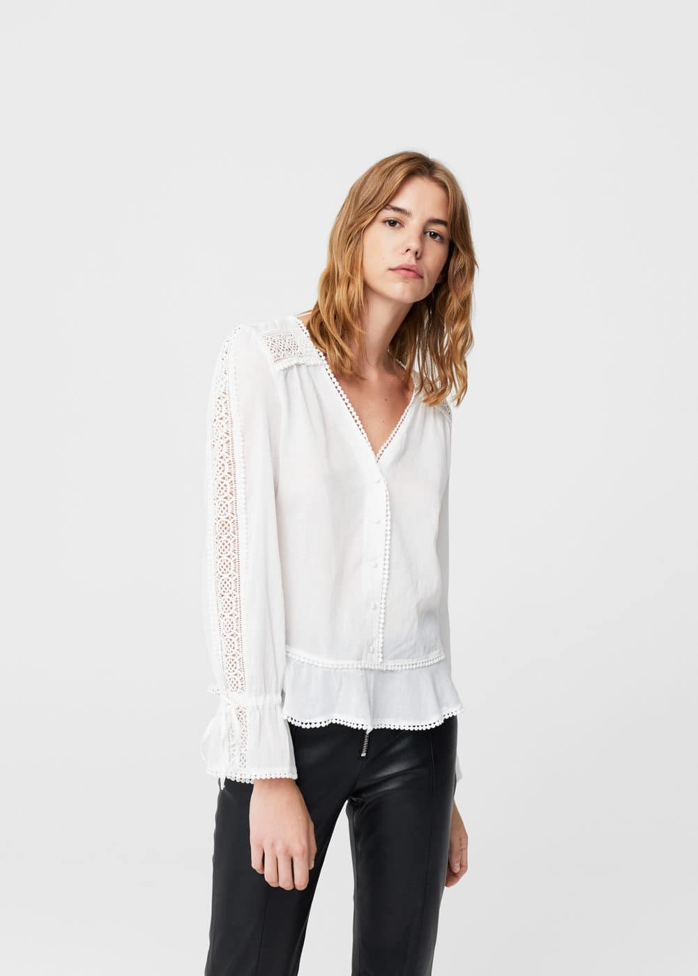 Embroidered openwork blouse | MANGO