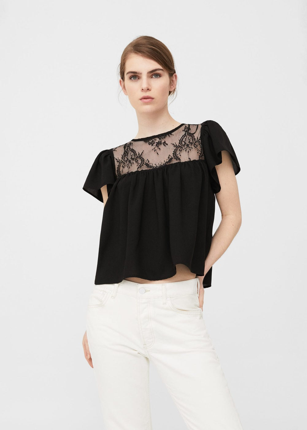 Lace panel blouse | MANGO