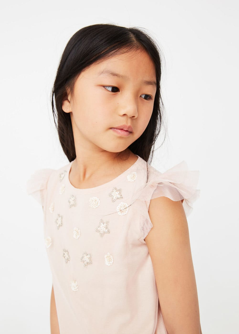 Embroidered tulle dress   MANGO KIDS