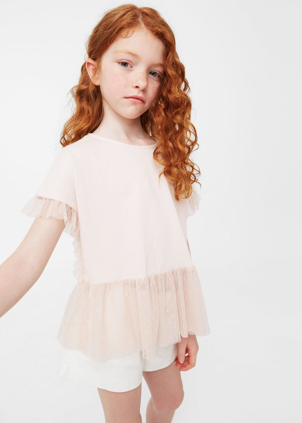 Contrasting frilled t-shirt | MANGO KIDS