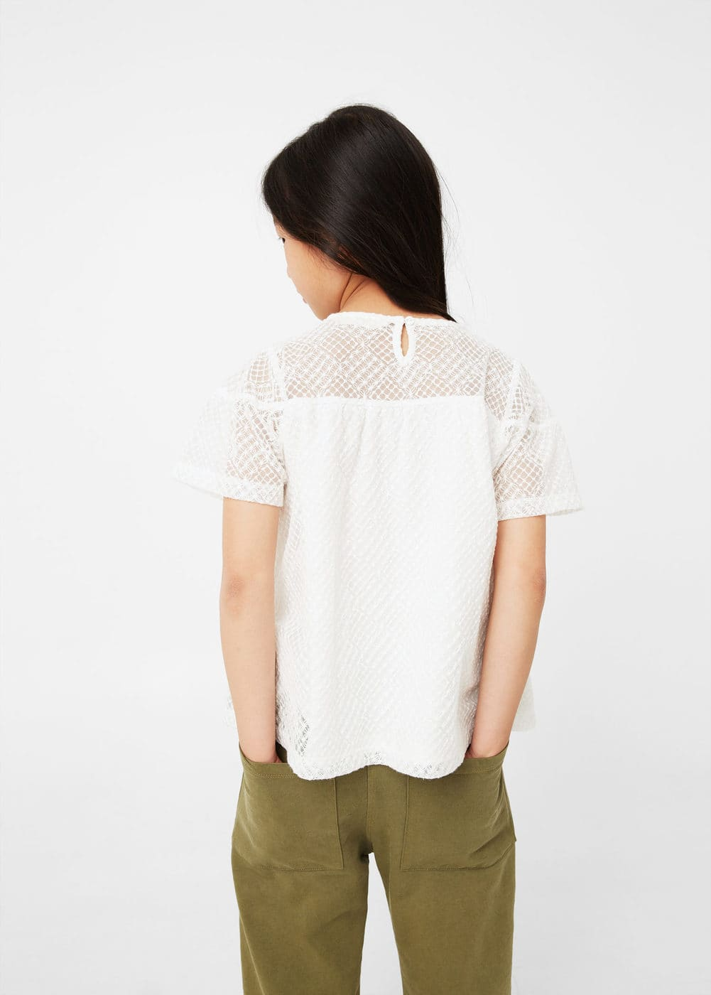 Embroidered tulle t-shirt | MANGO KIDS