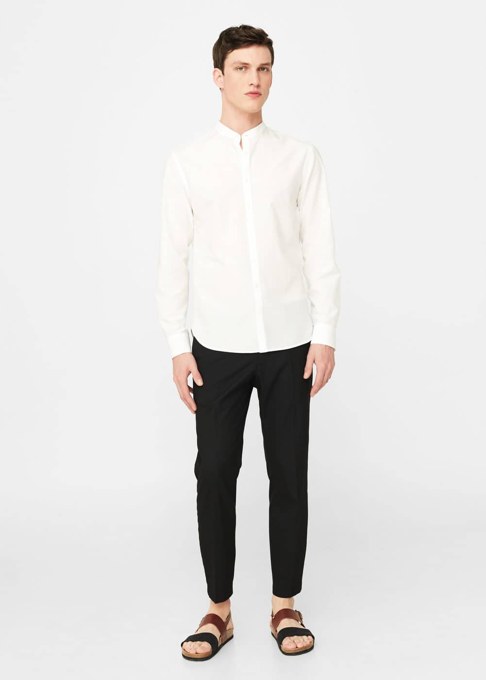 Cotton silk-blend slim-fit shirt | MANGO MAN