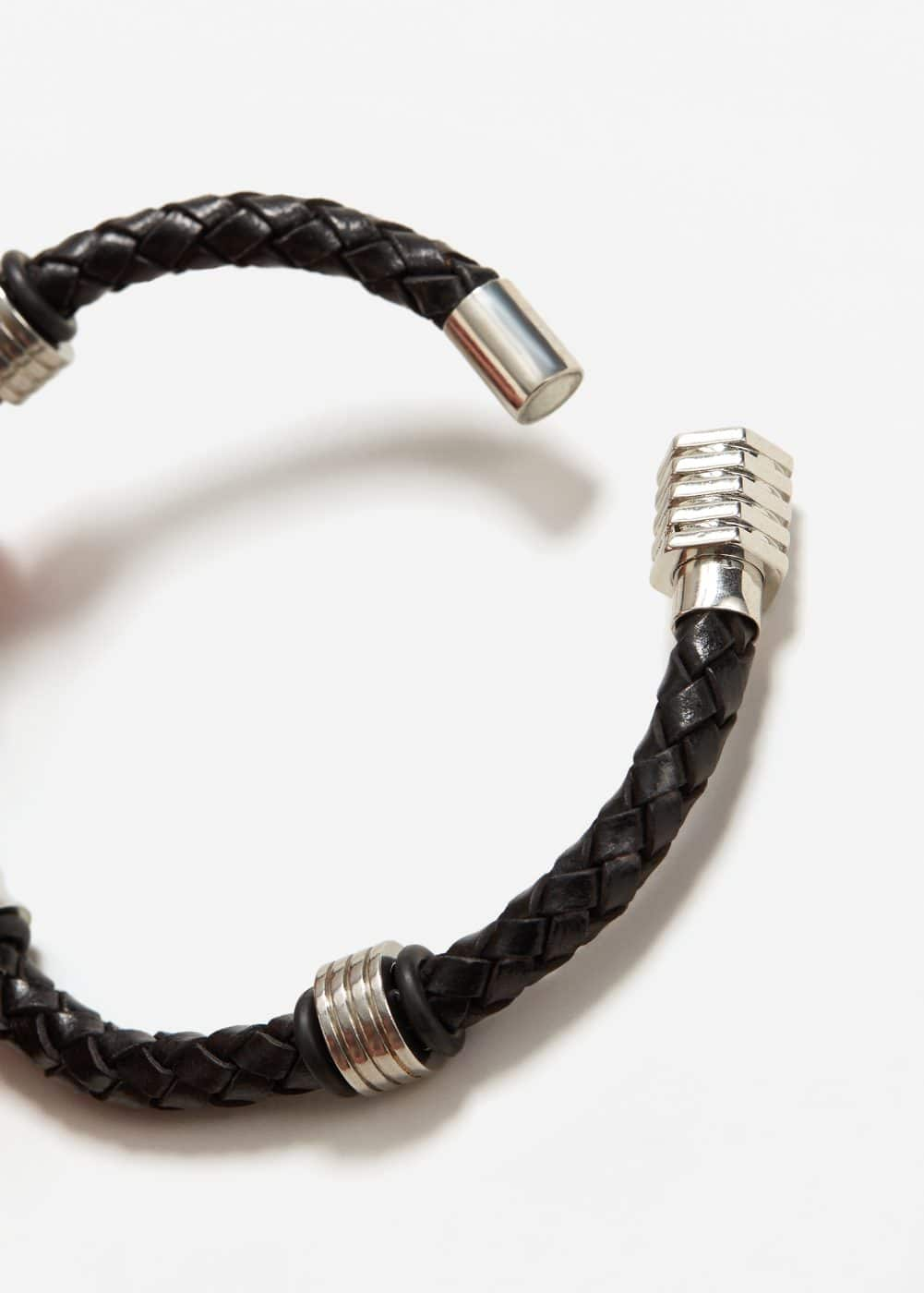 Metal hook leather bracelet | MANGO MAN