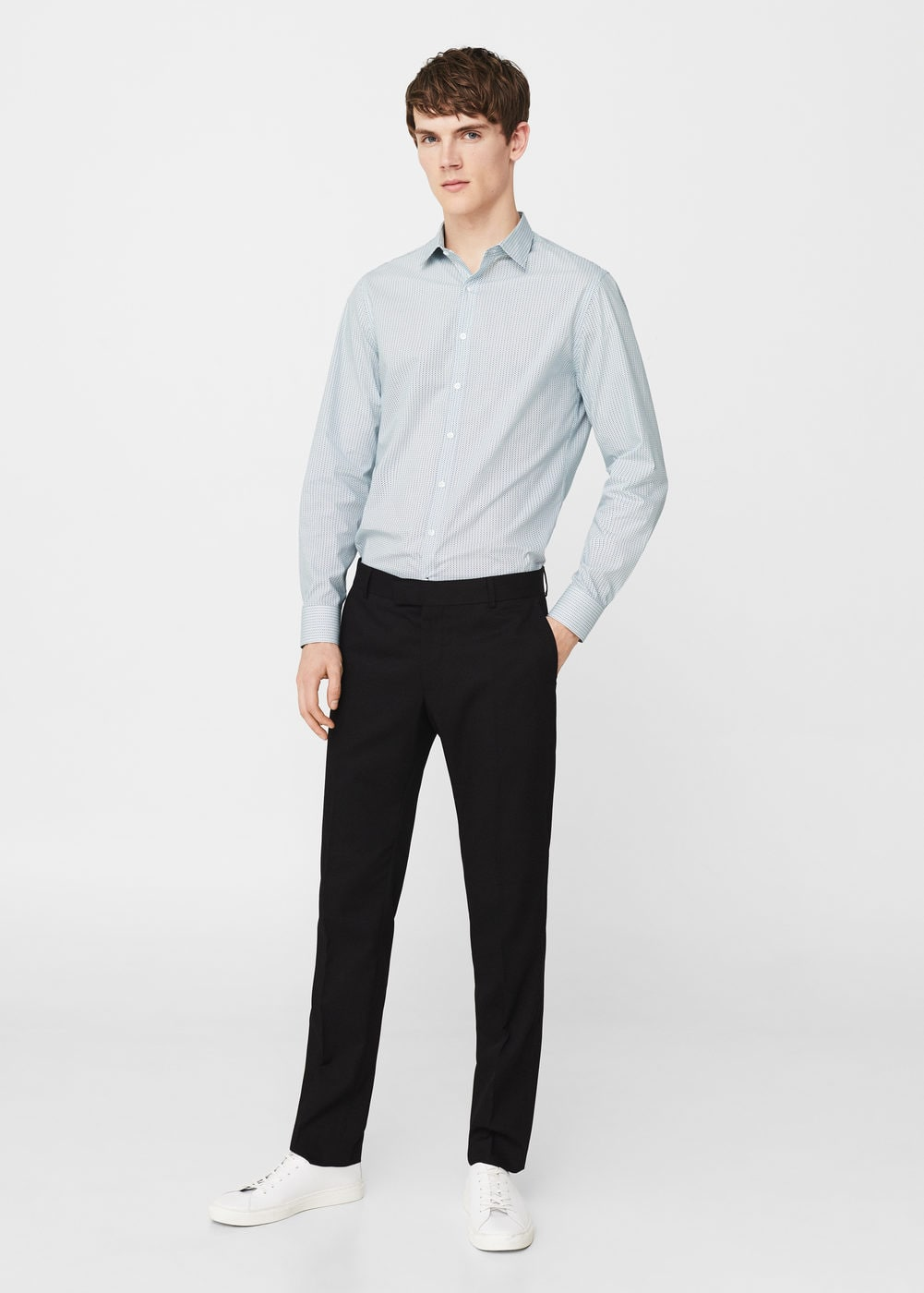 Slim-fit micro print shirt | MANGO MAN