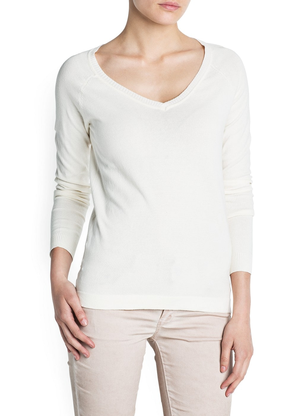 V-neck cotton-blend sweater | MANGO