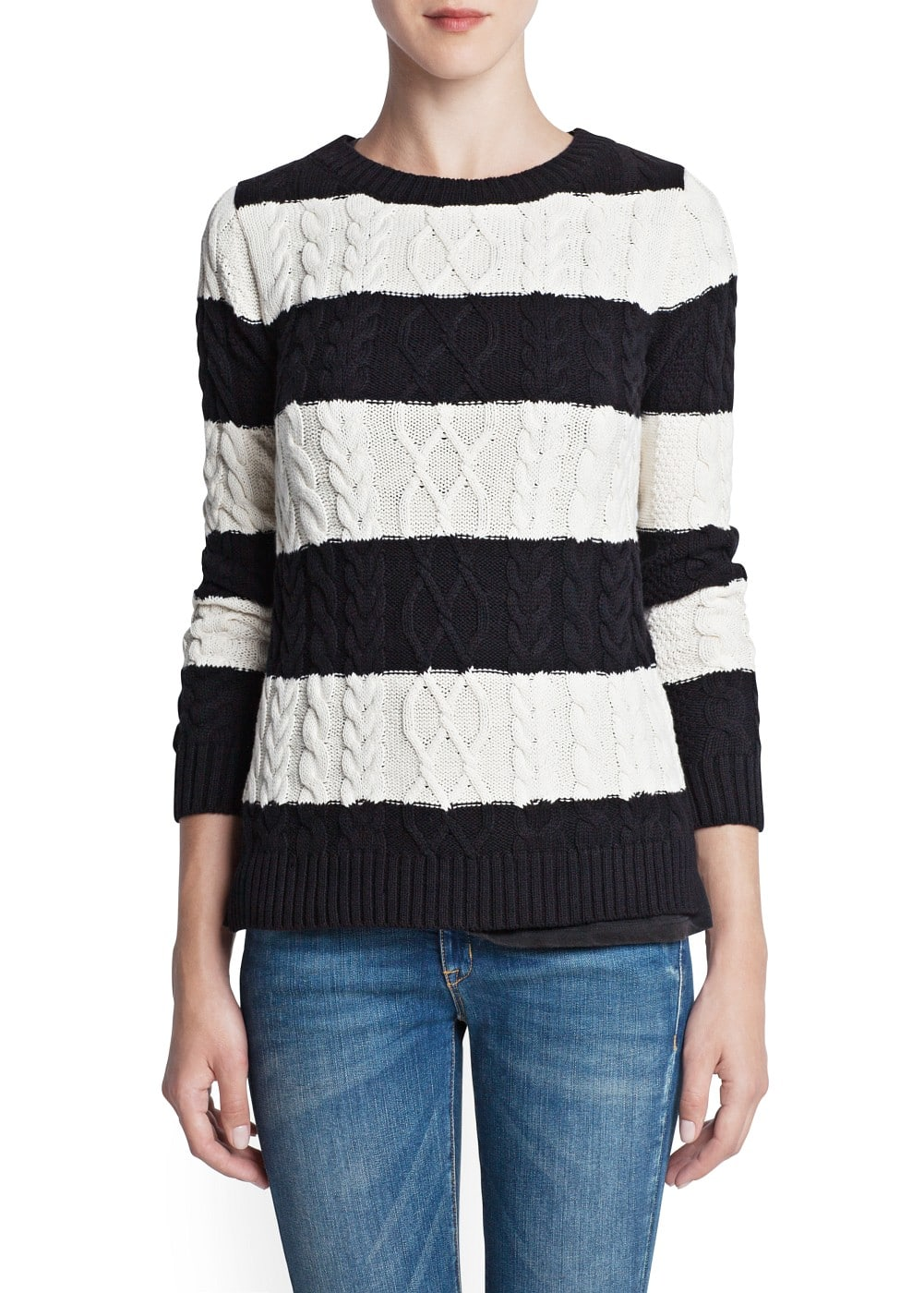 Cable-knit striped sweater | MANGO