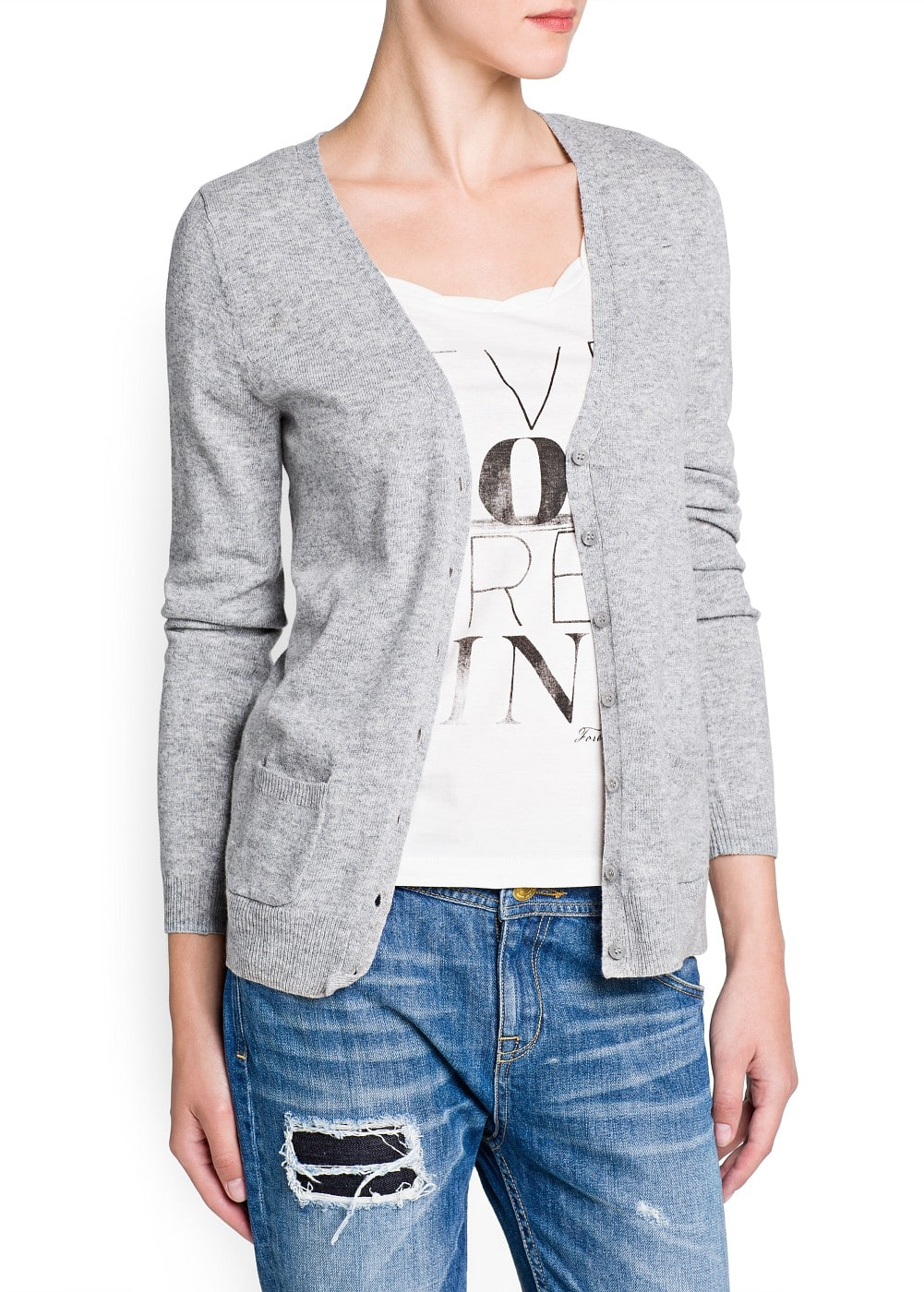 Wool cotton-blend cardigan | MANGO