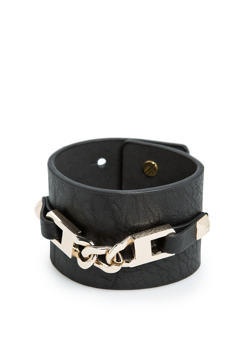 Links leather effect cuff | MANGO