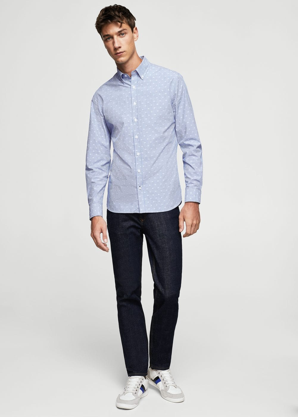 Slim-fit mixed print shirt | MANGO